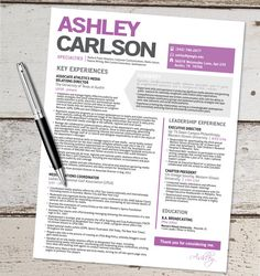 The Ashley Resume Template Design - Graphic Design - Marketing - Sales - Customer Service - Medical - Teacher