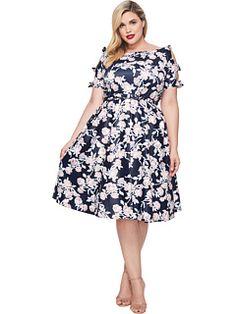 Unique Vintage Plus Size Bow Dress