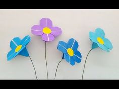 Origami flower / พับดอกไม้ Origami Cards, Cute Origami, Kids Origami, Origami Ball, Origami Paper, Origami Instructions, Origami Tutorial, Dollar Bill Origami, Origami Videos