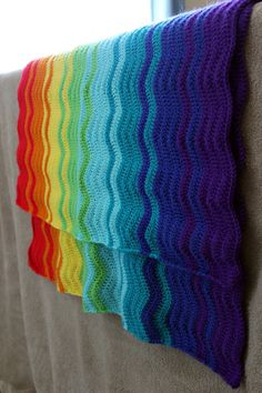 Rainbow Ripple Crochet Blanket, $60. Really vibrant and lovely.
