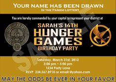 Hunger Games Party Printables - Personalized invitations, favors,  and district badges. $12.99, via Etsy.