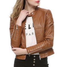 2018 Fashion Women Elegant Zipper Faux Leather Biker Jacket in Brown Black Slim Ladies Coat Casual brand Motorcycle Leather Coat http://thegayco.com/products/2018-fashion-women-elegant-zipper-faux-leather-biker-jacket-in-brown-black-slim-ladies-coat-casual-brand-motorcycle-leather-coat