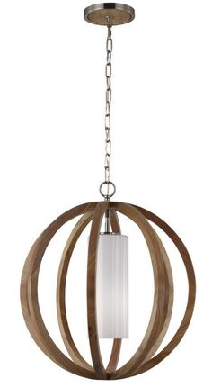 Feiss F2953/1LW/BS Allier 1 Light Pendant Wood & Brushed Steel