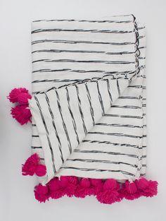 Cotton Scribble Stripe Blankets