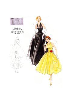 evening dress pattern, Vogue Sewing Pattern evening dress, Miss Retro 1957 Design Halter Dress, plus size dress pattern Vogue Dress Patterns, Vintage Vogue Patterns, Vogue Sewing Patterns, Costume Patterns, Clothing Patterns, Halter Dress Formal, Halter Gown, Halter Neck, Gown Dress