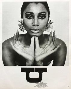 Charlotte March, jewelry editorial with Donyale Luna for Twen magazine, 1966. AD: Willy Fleckhaus, Germany. My twen collection.   Donyale Luna was the first African American model on the cover of Vogue, and working as an actress with Warhol or Fellini, but died of a heroin overdose, age 33. Design is fine. History is mine.