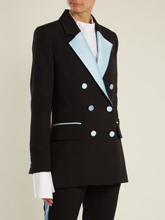 Click here to buy Racil Paris double-breasted contrast-lapel wool blazer at MATCHESFASHION.COM