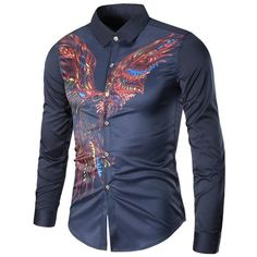 Colorful Long Sleeve Eagle Graphic Print Cool Shirt (35 BAM) ❤ liked on Polyvore featuring men's fashion, men's clothing, men's shirts, men's casual shirts, american eagle mens shirts, mens longsleeve shirts, mens graphic t shirts and mens long sleeve graphic t shirts