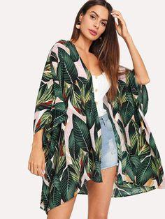 Multicolor Tropical Jungle Leaf Print Batwing Sleeve Kimono 2019 Women Summer Sleeve Vacation Longline Beach Blouses Multi S Bohemian Fabric, Mode Boho, Woman Outfits, Beach Wear, Beach Babe, Beachwear For Women, Batwing Sleeve, Shirt Blouses, Fashion News