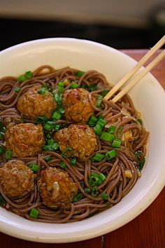 Ginger Chicken Meatballs with Soba | Feed Me Phoebe
