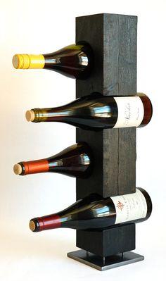 Charred Cedar Standing Wine Rack, Japanese Shou-Sugi-Ban, Native Vermont Northern White Cedar Wood, Steel, Ready to Ship