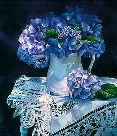 """Hydrangea Melody"" by Arleta Pech floral art shadows Art Floral, Watercolor Flowers, Watercolor Paintings, Watercolors, Painting Flowers, Hydrangea Flower, Hydrangeas, Blue Flowers, Poster Prints"