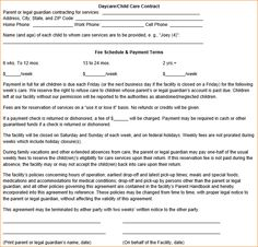 Pin Daycare Contract Template Image Search Results On