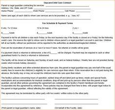 Child Care Contract Template - Hashdoc | Childcare ideas ...