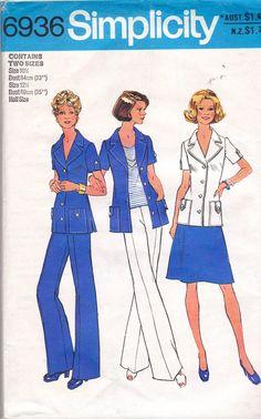 70s Womens Safari Suit Half Size Pattern Simplicity 6936 Jacket Skirt Pants…