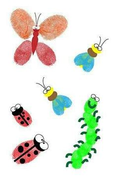 fingerprint bugs makes a fun craft when learning about bugs and insects! Kids Crafts, Bug Crafts, Summer Crafts, Crafts To Do, Arts And Crafts, Fingerprint Crafts, Footprint Crafts, Handprint Art, Craft Activities