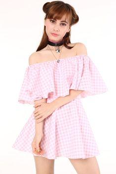 c378188c33d32 Image of Lolita Pink Gingham Set Off Shoulder Crop Top
