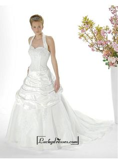 Beautiful Elegant Exquisite Halter Wedding Dress In Great Handwork Sale On LuckyDresses.com With Top Quality And Discount