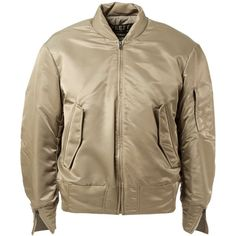 Yeezy Adidas Originals by Kanye West Bomber Jacket ($2,109) ❤ liked on Polyvore featuring outerwear, jackets, coats, coats & jackets, green, brown bomber jacket, green bomber jacket, green flight jacket, zip front jacket and brown jacket