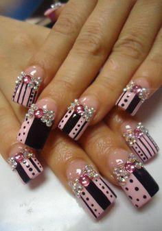 See more ideas about Nude nails, Make up looks and Nail polish. Long Nail Designs, Beautiful Nail Designs, Cute Nail Designs, Acrylic Nail Designs, Crazy Nails, Fancy Nails, Bling Nails, Fabulous Nails, Gorgeous Nails