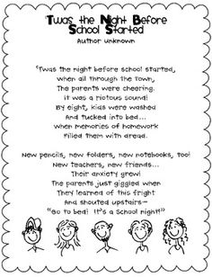 T'was the Night Before School Started poem and activity---freebie. Putting in my meet the teacher folders for Back to school :) Night Before School, Back To School Night, 1st Day Of School, Beginning Of The School Year, Too Cool For School, School Fun, School Days, School Stuff, School Starts