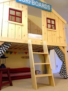 Clubhouse Bed.  I wonder if we could pull something like this off for the spare/play room. I'm sure adults wouldn't object to sleeping in it.