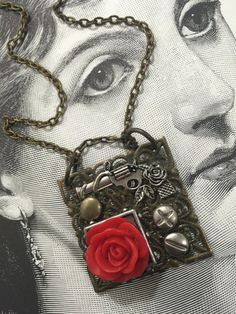 Guns And Roses Pendant Necklace Rockabilly Pendant Necklaces