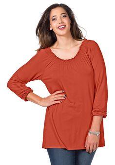 Typ , Shirt, |Materialzusammensetzung , Fließende, elastische Qualität aus 95% Viskose, 5% Elasthan., |Schnitt , Leicht ausgestellte Form, |Ausschnitt , Rundhals-Ausschnitt, |Gesamtlänge , größenangepasste Länge von ca. 72 bis 80 cm, |Ärmellänge , Langarm, | ...
