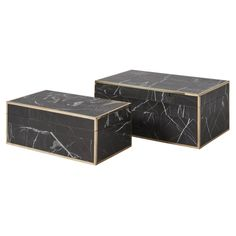 A set of two nero marble boxes. Each box features a brass border, contrasting with the black and white coloring of nero marble. The larger box measures Room Accessories, Decorative Accessories, Decorative Boxes, Marble Box, Fabric Houses, Accent Pieces, Home Accents, Interior Styling, Home Furnishings