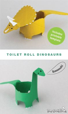 """Create dinosaurs from toilet rolls [or paper towel rolls] - free printable shape template on the blog"" …maybe also make dragons & animals, like elephants and giraffes."
