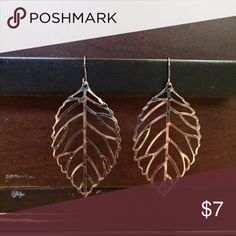 Leaf Earrings! 🍂🍂Perfect for Fall!!! 🍂🍂 Silver plated delicate leaf earrings. Looking for a new home. About 2.5 inches long. These are really thin and light. I loved to pair them with a turtleneck or cowl neck sweater. Jewelry Earrings