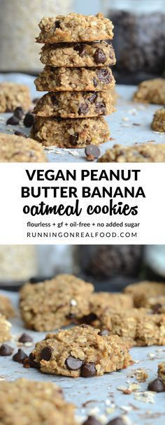 Flourless Peanut Butter Banana Oatmeal Cookies (Vegan) Flourless Peanut Butter Banana Oat Cookies – Just 3 Ingredients! Peanut Butter Banana Oats, Banana Oat Cookies, Flourless Oatmeal Cookies, Cookies With Bananas, Chip Cookies, Vegan Treats, Vegan Desserts, Dessert Recipes, Diabetic Desserts