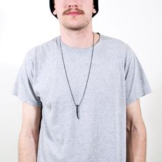 Minimal Necklace Mens Necklace Edgy Black Necklace by ApseAdorn
