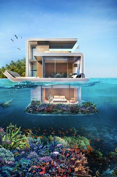 Floating Seahorse Villa in Dubai is an iconic underwater house and a luxury lifestyle product which was officially unveiled at Dubai International Boat Show Dream Home Design, Modern House Design, Vacation Places, Dream Vacations, Underwater Bedroom, Underwater Hotel, Dream Mansion, Luxury Homes Dream Houses, Floating House