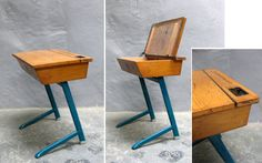 Oak and painted metal schooll desk.