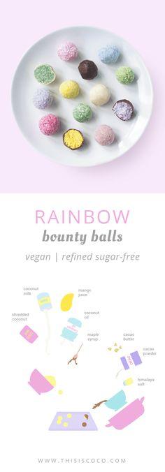 Vegan rainbow unicorn bounty balls made with coconut, vegan chocolate and natural food coloring. Sugar Free Vegan, Dairy Free, Gluten Free, Homemade Chocolate, Vegan Chocolate, Healthy Sweet Snacks, Healthy Eating, Unicorn Foods, Natural Food Coloring