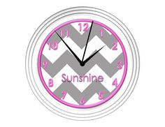 Grey Chevron Wall Clock with Pink Detail  by debbieshine on Etsy, $17.99