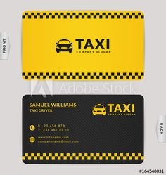 Business card for taxi company. Modern Business Cards, Business Card Design, Design Taxi, Restaurant Logo Design, Presentation Cards, Service Logo, Company Slogans, Taxi Driver, Signage