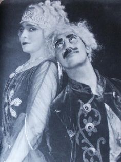 "Margaret Dumont and Groucho Marx in the stage version of ""Animal Crackers""."
