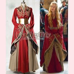 Custom Made Game of Thrones Queen Cersei Lannister Red Exclusive Dress Costume Adult Women Dance Party Cosplay Costume
