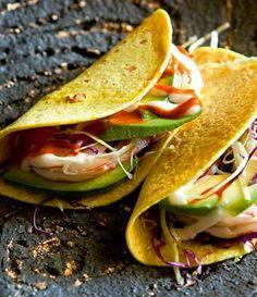 Avocado, prawn and chilli tacos.