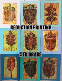 """Let me once again proclaim that """"I Love Printmaking!"""" It is such a fun process and I love the surprise each time you pull a print. Printmaking is a way of making multiple pieces of art by creating a p Fall Art Projects, School Art Projects, 6th Grade Art, Middle School Art, Art Lessons Elementary, Autumn Art, Art Classroom, Art Plastique, Art Activities"""
