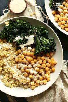 An incredibly satisfying, healthy, nutrient-rich buddha with steamed kale, from-scratch chickpeas, quinoa, and 3-ingredient tahini sauce!