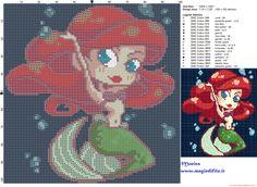 Ariel chibi chic cross stitch pattern