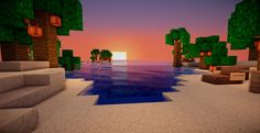 Minecraft Island Sunset