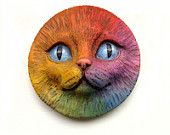 Rainbow Cat Art Doll Face Cab Kitty Animal Pet Bright Colorful Polymer Clay Cabochon roygbiv Blue Purple Red Orange Yellow 2671. $10.00, via Etsy.
