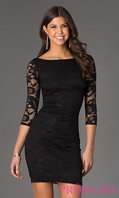 Buy Short Lace Dress with Length Sleeves at SimplyDresses Short Semi Formal Dresses, Short Lace Dress, Formal Evening Dresses, Evening Gowns, Short Dresses, Prom Dresses, Graduation Dresses, Little Black Dress Outfit, Black Dress Outfits