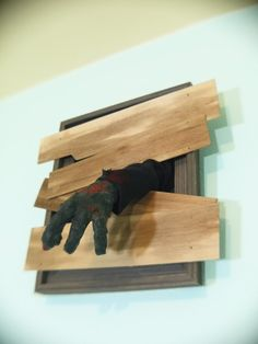 """Zombie """"window"""" from old frame. perfect to hang on porch."""