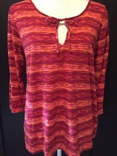 Lucky Brand L Striped Top Size Large Cotton Modal Knit Shirt Pink Orange #LuckyBrand #KnitTop #Casual