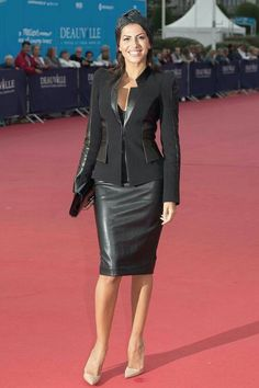 Actress Leila Boumedjane looked great as she attended the Where To Invade Next Premiere during the Deauville American Film Festival in Deauville, France… Fall Fashion Outfits, Mode Outfits, Skirt Outfits, Sexy Outfits, Autumn Fashion, Womens Fashion, Black Leather Pencil Skirt, Leather Dresses, Stylish Clothes